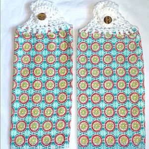 HP🔥 Two Crocheted Top Hanging Kitchen Towels